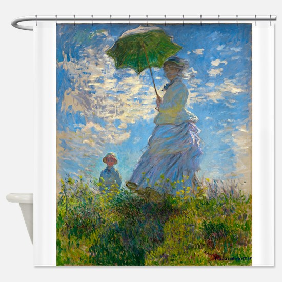 Woman with A Parasol by Claude Monet Shower Curtai