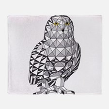 Geometric Snowy Owl Throw Blanket