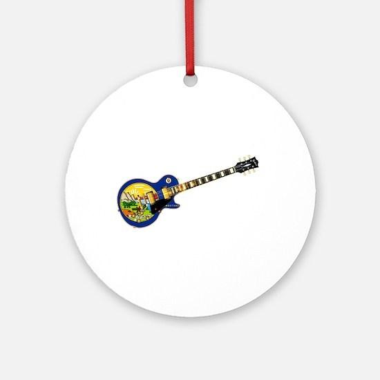 Montana State Flag Guitar Round Ornament