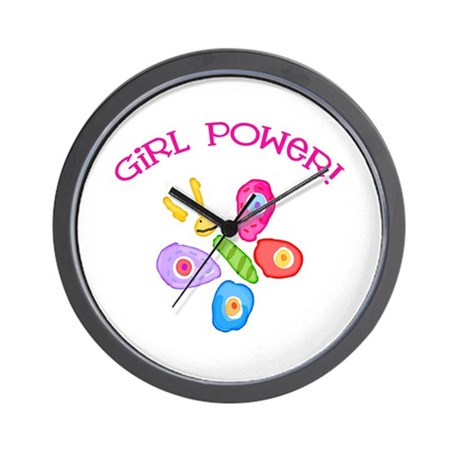 Funky Girl Power Butterfly Wall Clock