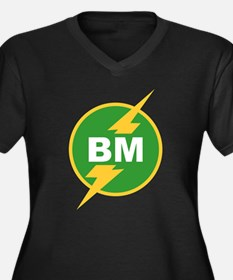 BM Best Man Women's Plus Size V-Neck Dark T-Shirt