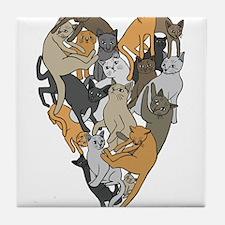 Cat Shaped Heart Tile Coaster
