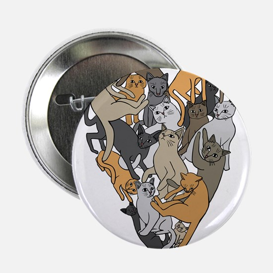 """Cat Shaped Heart 2.25"""" Button (10 pack)"""