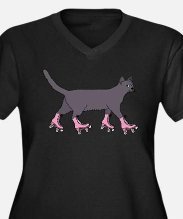 Cat Roller Skating Plus Size T-Shirt