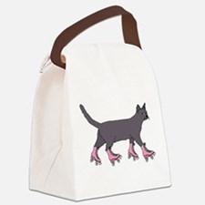 Cat Roller Skating Canvas Lunch Bag