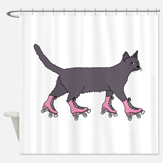Cat Roller Skating Shower Curtain