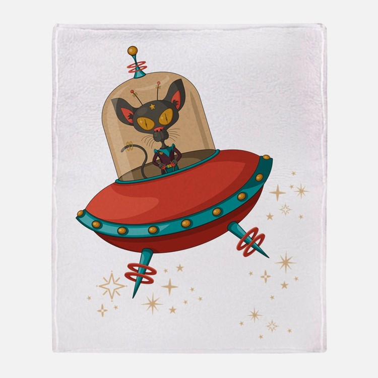 Outer space cat throw blankets outer space cat fleece for Outer space fleece