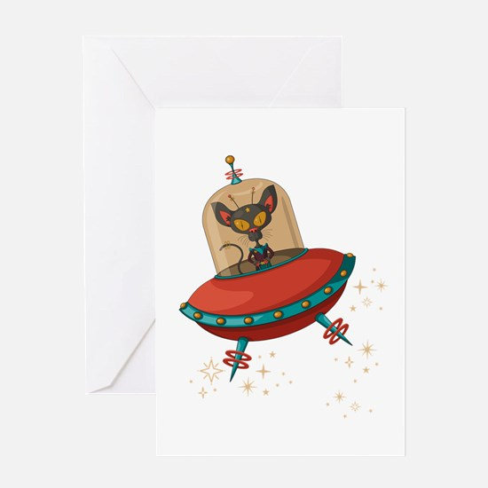Cute Flying cat Greeting Card