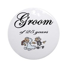 25th Wedding Anniversary Groom Gifts Ornament (Rou
