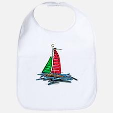 Red & Green Christmas Sailboat Bib