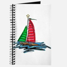 Red & Green Christmas Sailboat Journal