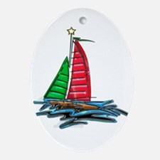Red & Green Christmas Sailboat Oval Ornament