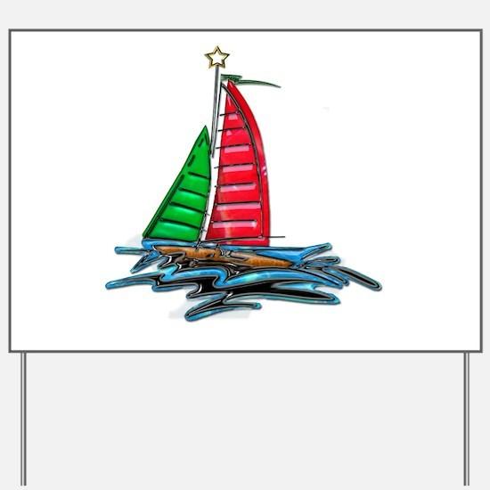 Red & Green Christmas Sailboat Yard Sign
