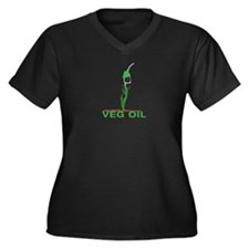 Veg Oil Women's Plus Size V-Neck Dark T-Shirt