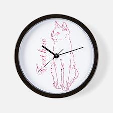 Pink Custom Cat Design Wall Clock