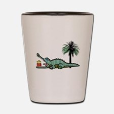 Christmas Alligator near Palm Tree with Shot Glass
