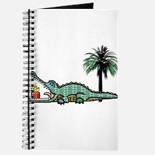 Christmas Alligator near Palm Tree with G Journal