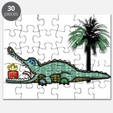Christmas Alligator near Palm Tree with Gi Puzzle
