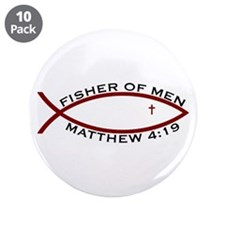"Fisher (RED) - 3.5"" Button (10 Pack)"