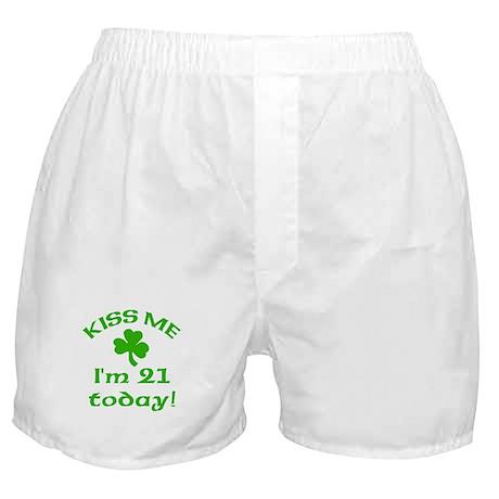 Kiss Me I'm 21 on St Patricks Day Boxer Shorts