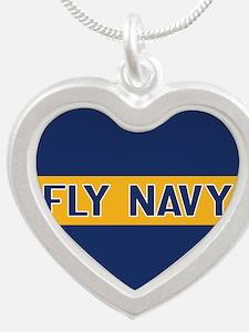 U.S. Navy: Fly Navy (Blue & Silver Heart Necklace