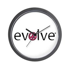 Evolve to Peace - Pink Wall Clock