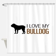 Dogs: I Love My Bulldog Shower Curtain