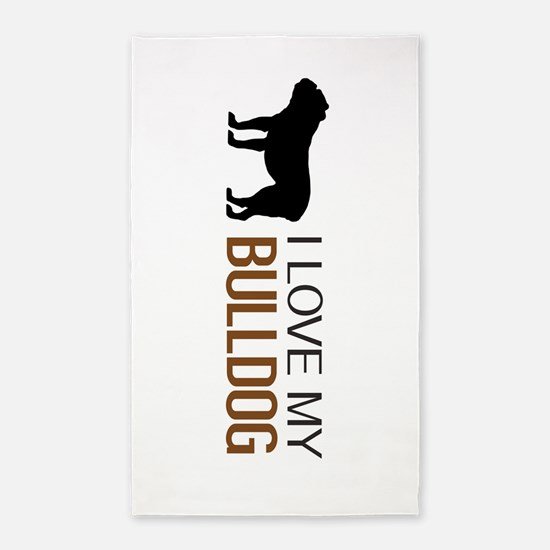 Dogs: I Love My Bulldog Area Rug