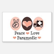 Peace Love Paramedic EMT Rectangle Decal