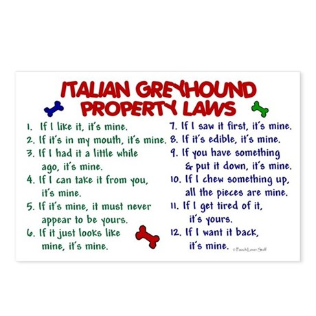 Italian Greyhound Property Laws 2 Postcards (Packa