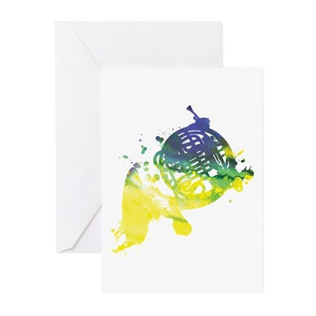 Paint Splat French Horn Greeting Cards (Pk of 20)