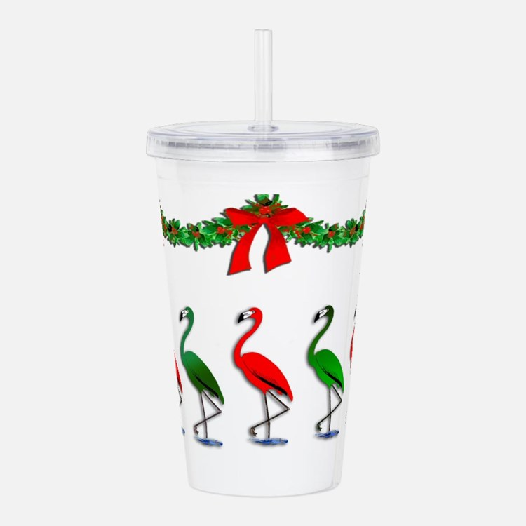 Christmas Flamingos Ro Acrylic Double-wall Tumbler