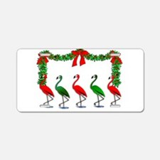 Christmas Flamingos Rockett Aluminum License Plate