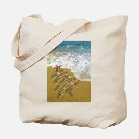 Christmas Seashells and Tree Washed Up on Tote Bag