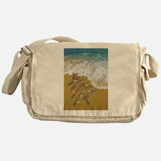 Christmas Seashells and Tree Washed Messenger Bag