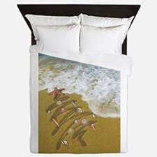 Christmas Seashells and Tree Washed Up Queen Duvet