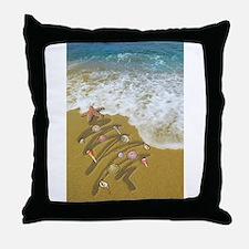 Christmas Seashells and Tree Washed U Throw Pillow