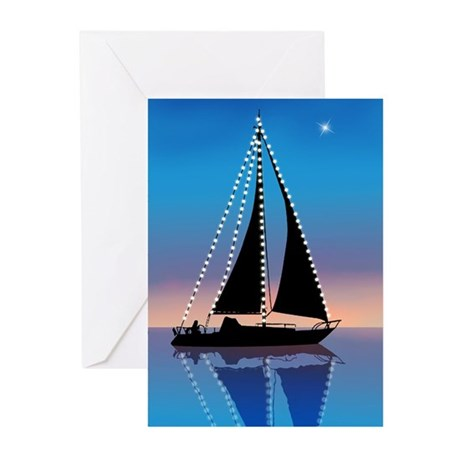 Sails at Sunset Sailboat Silhouette Greeting Cards
