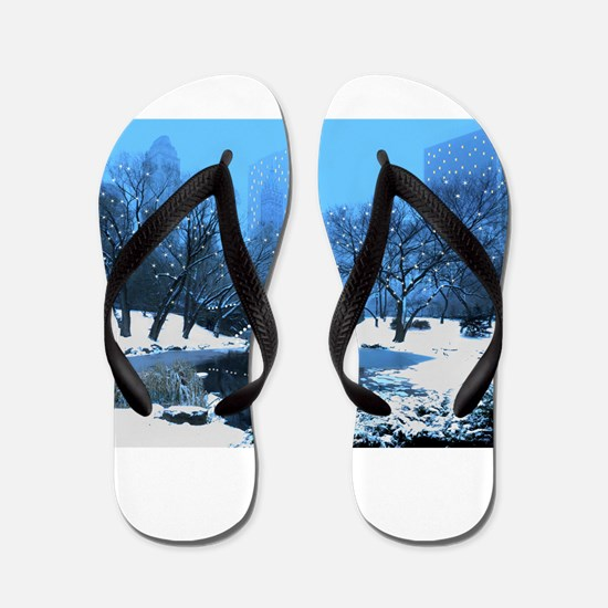 Central Park New York Winter Flip Flops