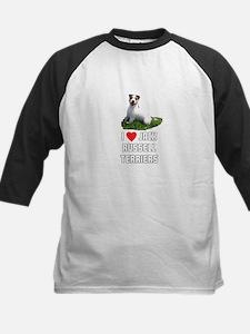 I Love Jack Russell Terriers Kids Baseball Jersey