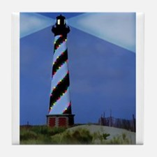 Cape Hatteras Light House with Christ Tile Coaster