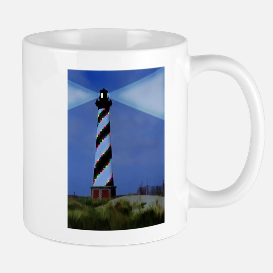 Cape Hatteras Light House with Christmas Ligh Mugs