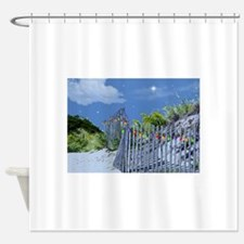Beach Dune and Fence with Xmas Ligh Shower Curtain
