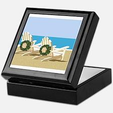 Beach Chairs with Wreaths Keepsake Box