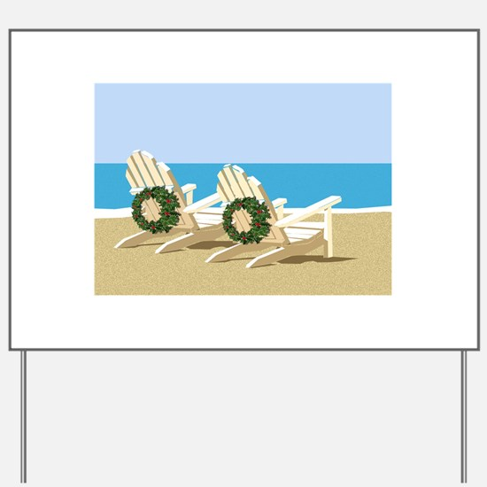 Beach Chairs with Wreaths Yard Sign