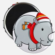 Winter Rhino with Ski Cap and Scarf Magnets