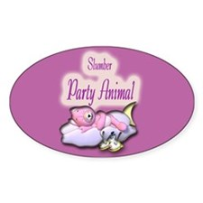 Slumber Party Animal Gifts Oval Decal