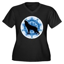 Wolf Silhouette Women's Plus Size V-Neck Dark T-Sh