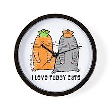 I Love Tabby Cats Wall Clock