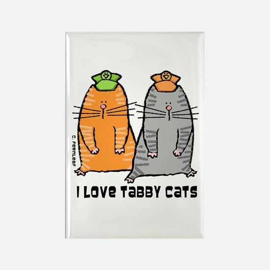 I Love Tabby Cats Rectangle Magnet